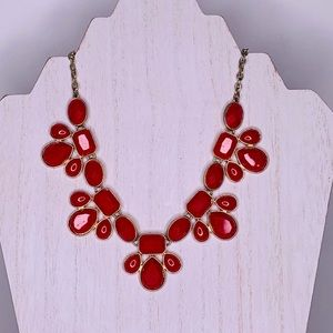 Statement Necklace Red Gem Styled Beads